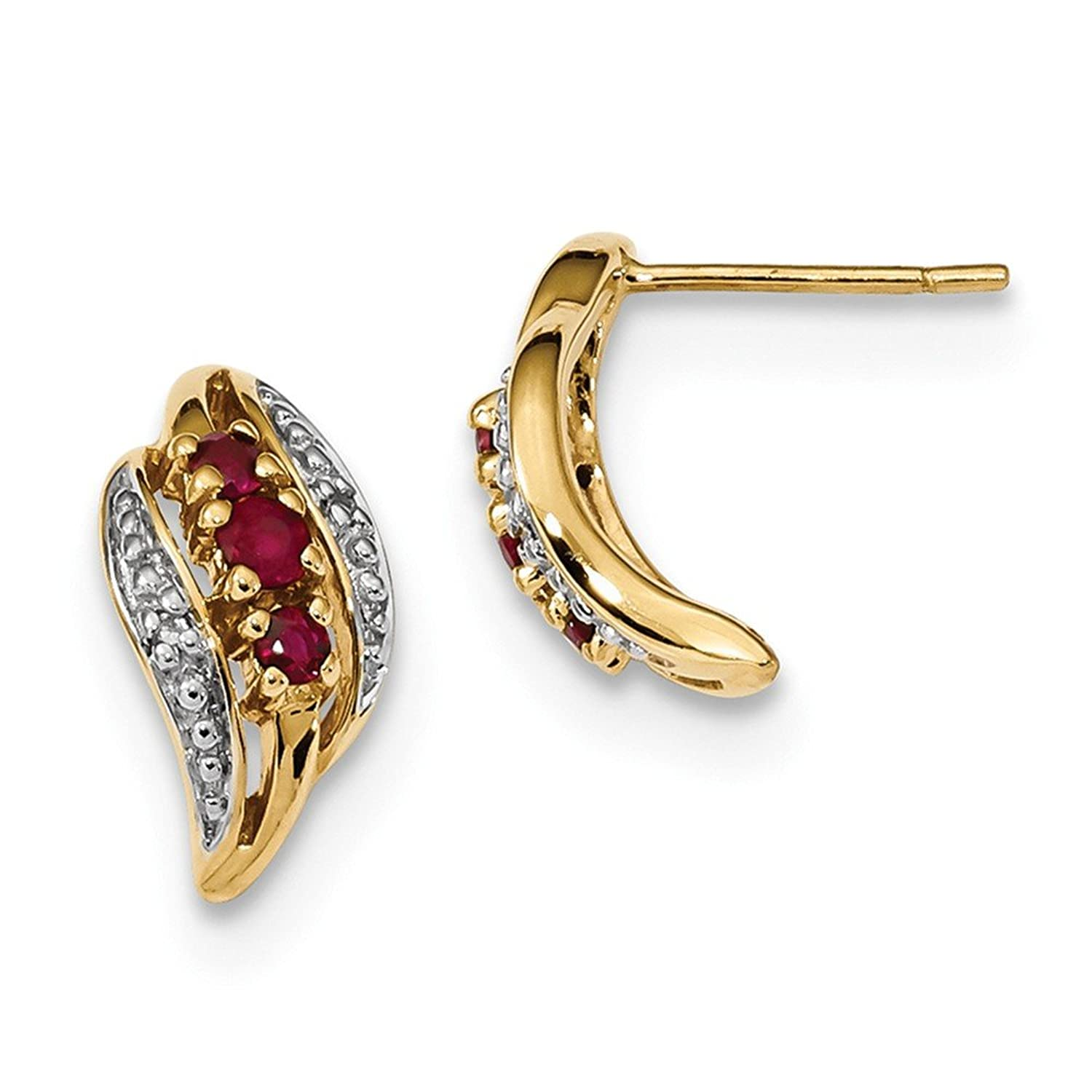 7 66mm 14ct Gold With Siam Ruby and Diamond Polished Post Earrings
