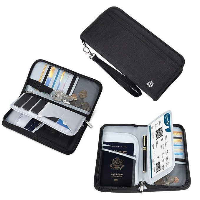 Reisepass Tasche Familie Reiseorganizer Reisedokumententasche | RFID-Blocker Pass Etui Passport Hülle Reisemappe Reisebriefta