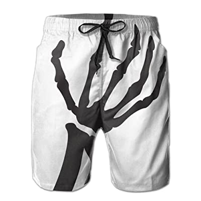 BBAngle Skeleton Hands Mens Board Shorts Swim Trunks Men Tropical Basketball Swim Board Shorts