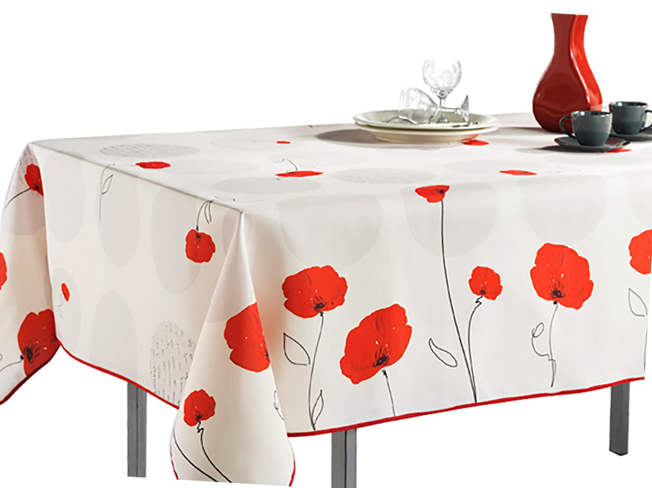 "60 x 95-Inch Rectangular Tablecloth Ivory White Red Poppy Flowers, Stain Resistant, Washable, Liquid Spills bead up, Seats 8 to 10 People (Other Size Available: 63"" Round, 60 x 80"", 60 x 120"")."