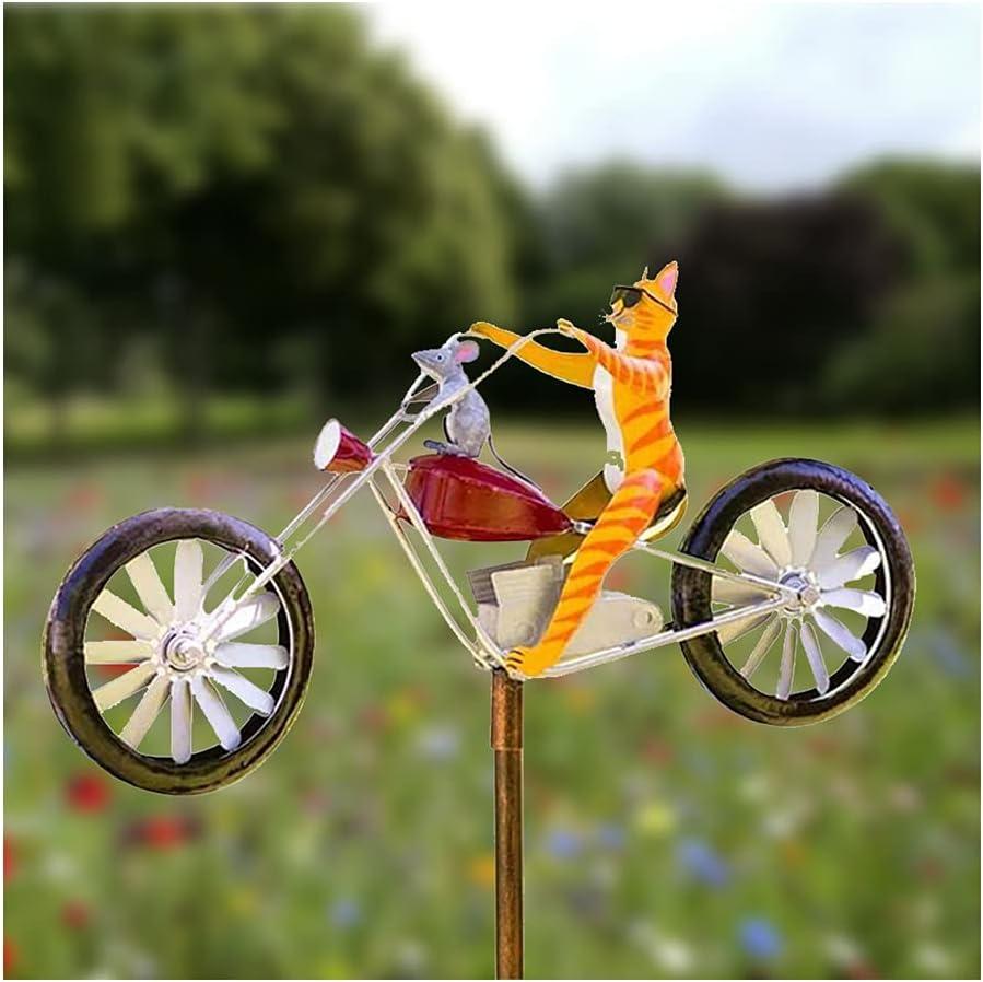 Prettywan Garden Metal Wind Spinner Vintage Bicycle Metal Wind Spinner Animal Motorcycle Windmill Garden Yard Lawn Decoration Outdoor Frog Animal Sculpture Art Ornaments Decor