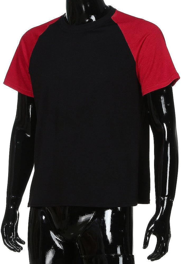 Kirbaez Men/'s T-Shirt Summer Fashion Raglan Short Sleeve Slim Fit Personality Patchwork Casual Sport Shirts Tops Blouse