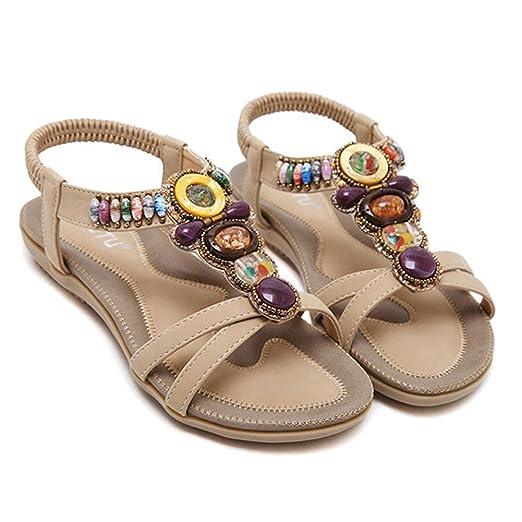Damen Sandalen Perlen Fesselriemen Boho Flip Flops Strand Flache Schuhe. 35-42 . Black . 42 FWGuq