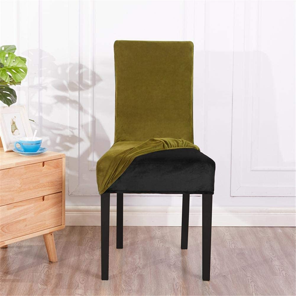 HAODEE Chair Cover Office Chair Desk Chair Velvet Dining Chair Covers Slip Seat Covers Banquet Chair Protector Protective Covers Olive Green Olive Green