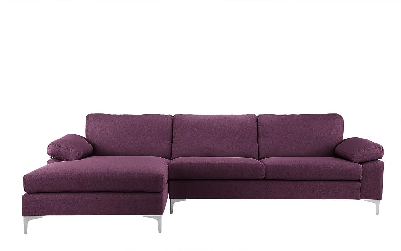 Amazon.com: Moderno sofá de tela de lino, en forma de L, con ...