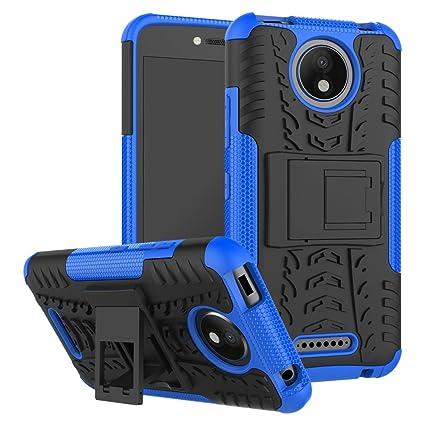 Motorola Moto C Plus Funda, FoneExpert® Heavy Duty silicona híbrida con soporte Cáscara de Cubierta Protectora de Doble Capa Funda Caso para Motorola ...