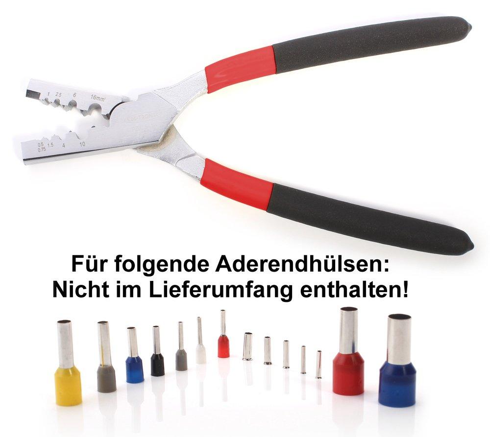 Crimpzange f/ür Aderendh/ülsen 0.5 bis 16 mm/² PZ0516