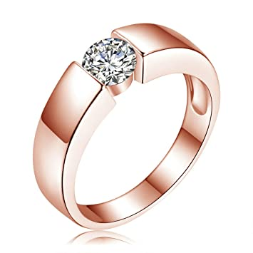 4274aba92603e Classic Engagement Ring Plated Silver 18 K Real Rose Gold Filled Diamond  Lovers Promise Ring for Men Women
