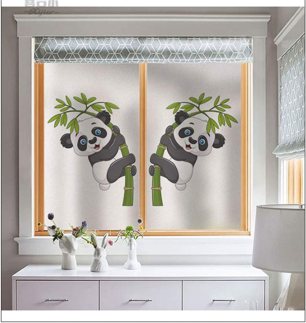 40x60cm J4U No Glue Static Cling Window Film Cute Panda Pattern Decorative Privacy Glass Film for Living Room Bedroom Kitchen Lobby Porch Office 40 Sizes 15.7x23.6in