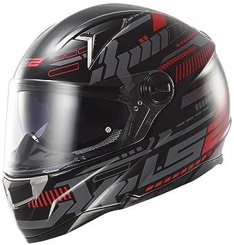 LS2 FF396.51 FT2 Tron Motorcycle Helmet XS Black Red