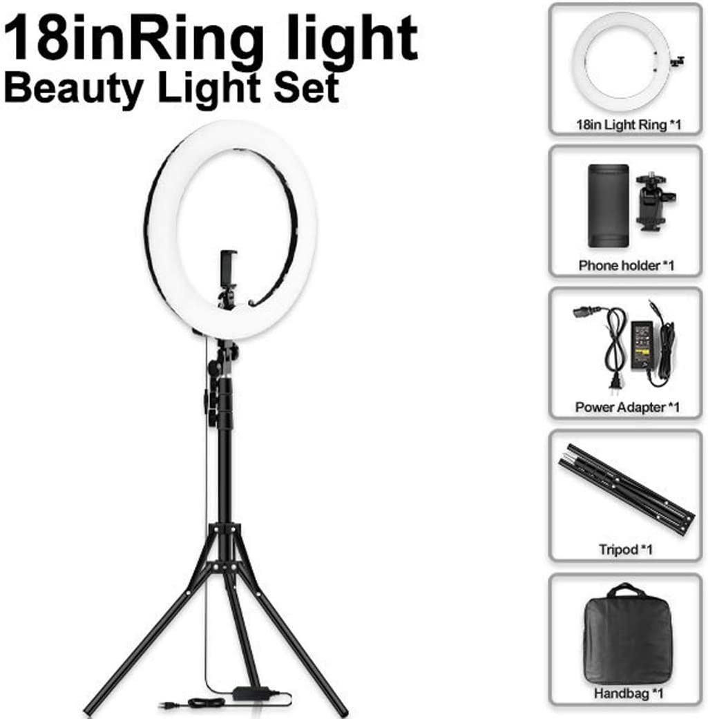 QCKDQ 18-Inch Selfie Ring Light Bluetooth for Make-Up,B 45W Adjustable Color Temperature 3200K to 5500K Makeup Ring Lights with Tripod Stand,Phone Holder Carrying Bag
