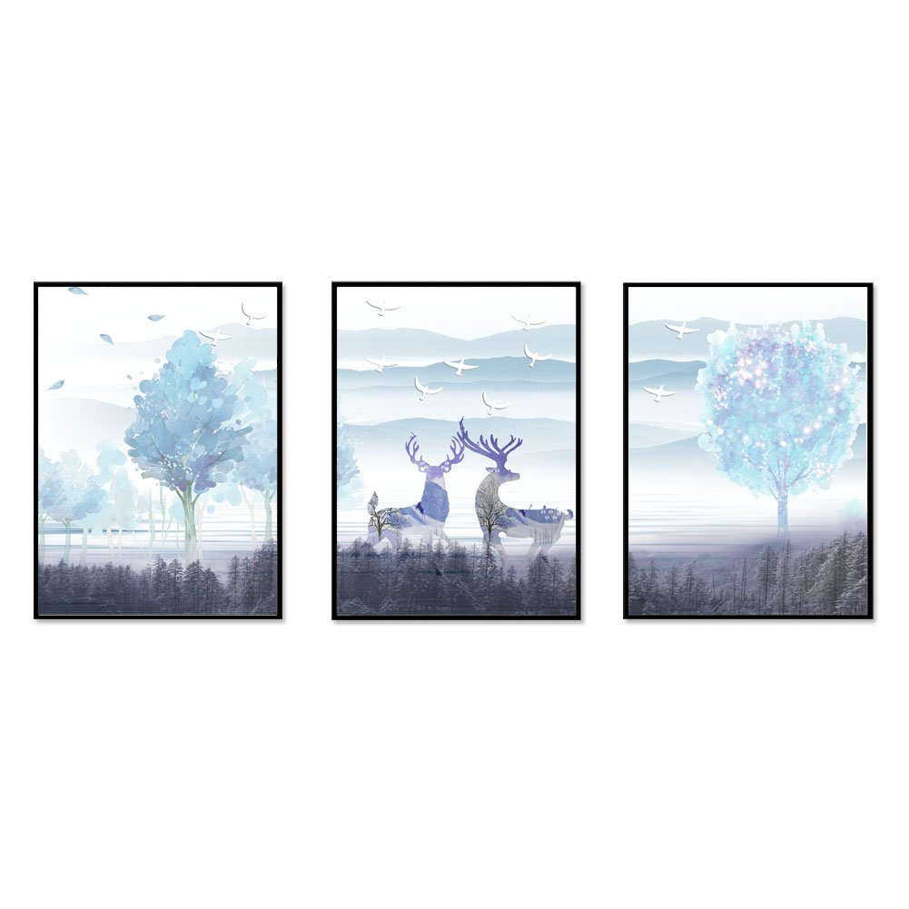 JaneMoXuan 壁掛け絵画「鹿 」「愛」「四不像」アートフレーム インテリア 絵画 綿キャンバス生地 ポスター 釘付き 壁掛け 木製 フレーム付き モダン ウォールデコ 額入り 北欧風 (黒木枠40cmX30cm, タイプD, 3枚) B07F15SDN9 黒木枠40cmX30cm|タイプD, 3枚 タイプD, 3枚 黒木枠40cmX30cm
