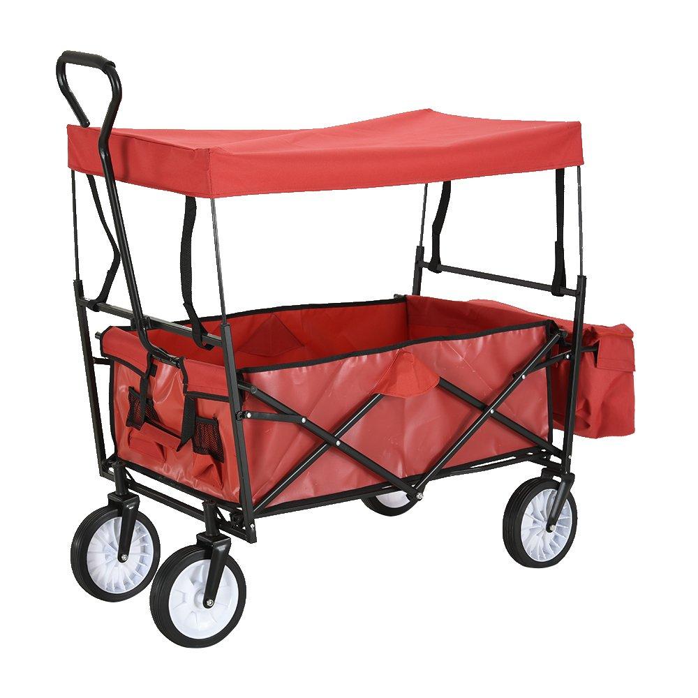 Carrito de jardín, carrito de remolque, carretilla, carrito de transporte de 4 ruedas, carrito de carretilla plegable de mano, carrito de carretilla impermeable con techo extraíble, 100 kg