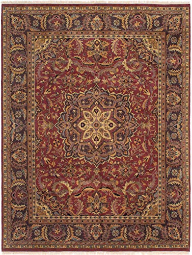 eCarpet Gallery Large Area Rug for Living Room, Bedroom | Hand-Knotted Wool Rug | Finest Agra Jaipur Bordered Red Rug 7'9