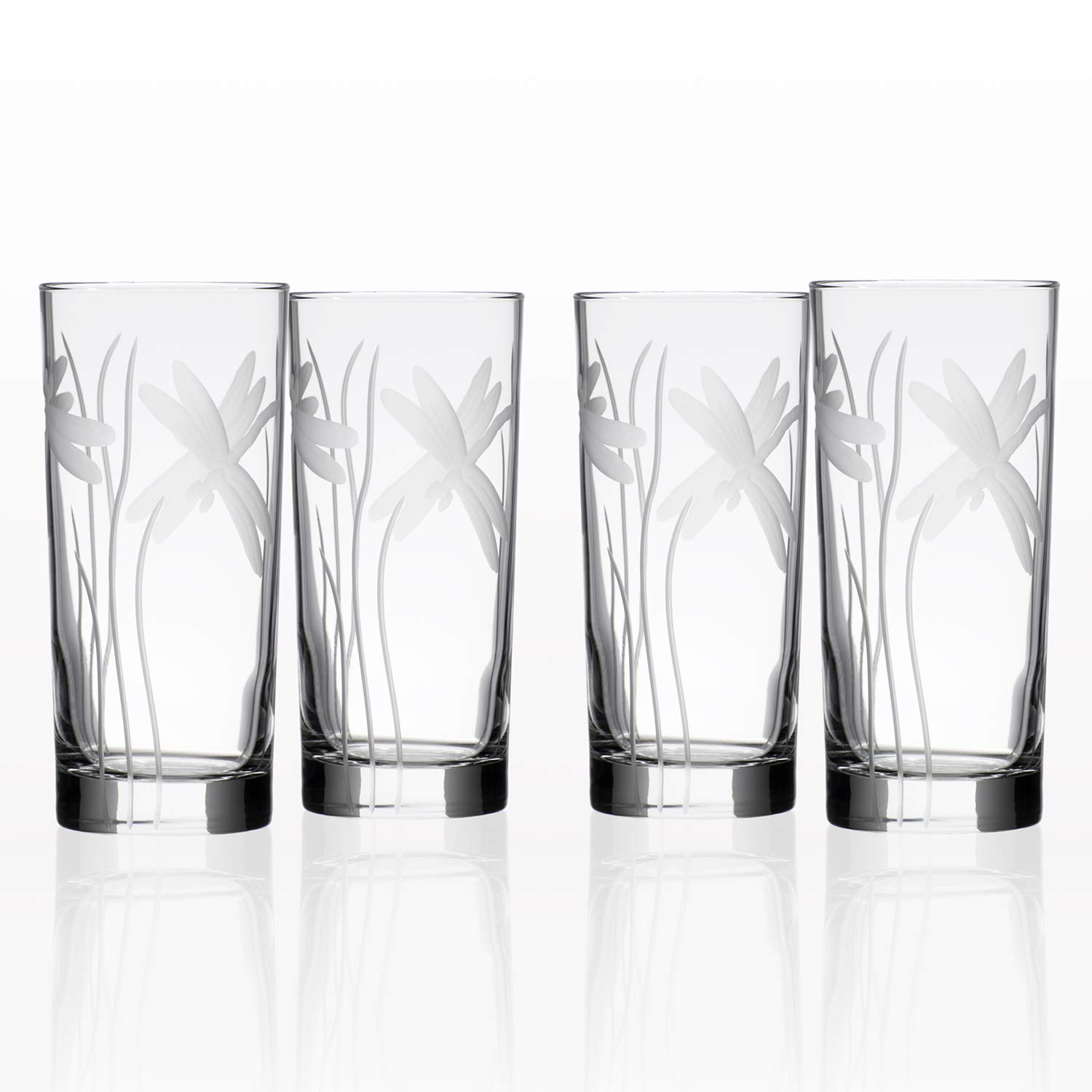 Rolf Glass Dragonfly Highball Glass, 15 Ounce, Set of 4