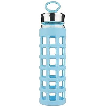 SHBRIFA Sports Botella de Agua de Vidrio Borosilicato con Funda de Silicona 700 ml