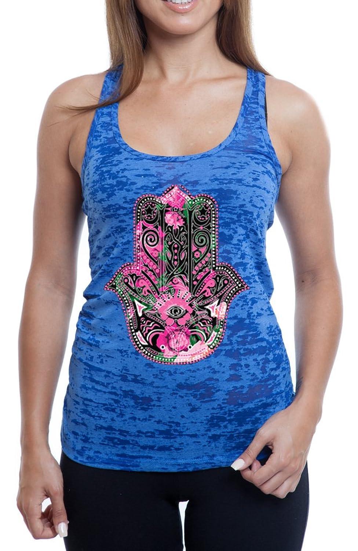 Women's Graphic Hamsa Floral Print Burnout TankTop