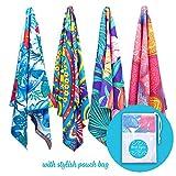 Bondi Safari Microfiber Beach Towel - Multi-Pack 4 X-Large Tropical Designs - Quick Dry, Sand Free, in Paisley, Boho & Tropical for Travel, Beach, Outdoor, for Women 63x31(Multi-Pack x4)