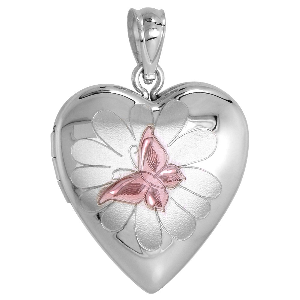 Sterling Silver Heart Locket Necklace Butterfly on Flower Motif 16 inch Boston Chain