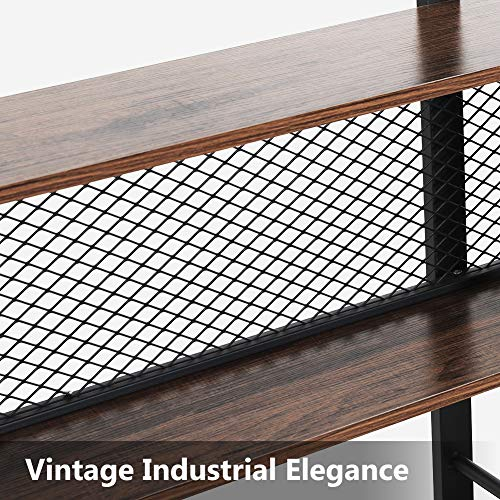 Tribesigns 5-Shelf Bookshelf with Metal Wire, Vintage Industrial Bookcase Display Shelf Storage Organizer with Metal Frame for Home Office, 47.2'' L x 9.4'' D x 71'' H (Retro Brown) by Tribesigns (Image #4)