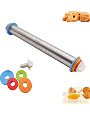 Adjustable Rolling Pin Stainless Steel Smooth Rolling Pin with Thickness Rings Large Heavy DutyNon Stick Dough Baker Roller Tools for Pastry Rolling