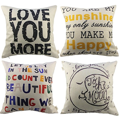 HOSL 4 Pack Cotton Linen Pillow Case Decorative Cushion