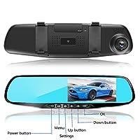 L&HM Telecamera per auto Dual Lens Full HD 4.3 pollici TFT 1080P(Specchio blu antiabbagliante) Dash Cam Doppio Obiettivo Anteriore e Posteriore Telecamera Impermeabile grandangolo 170 ° e doppia lente con assistenza al parcheggio, rilevamento del movimento, G-sensor, WDR e registrazione in loop Supporta la scheda TF 2G-32G (scheda di memoria non inclusa)