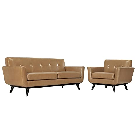 Phenomenal Modway Engage Mid Century Modern Upholstered Leather Loveseat And Armchair Living Room Set In Tan Pdpeps Interior Chair Design Pdpepsorg