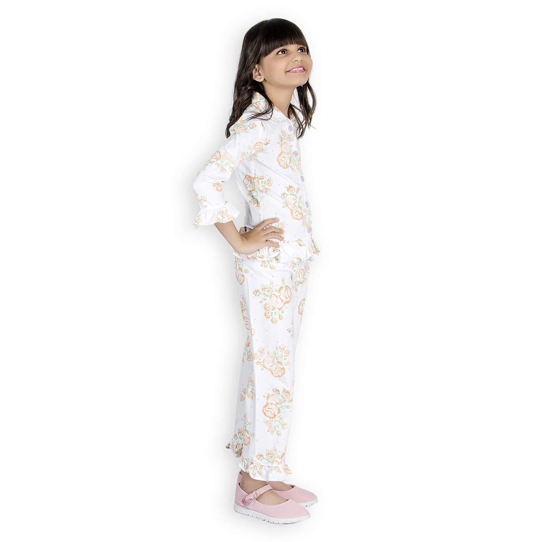 7e314165f8 Olele® Floral Printed Girls Toddler Kids Printed Night Suit with Pajama Set