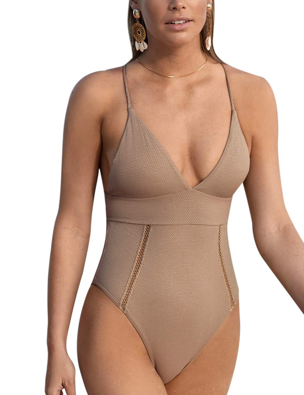 May Women's Deep V Neck One Piece Swimsuit Criss Cross Back Beach Swimwear Bathing Suit Apricot