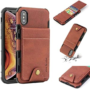 for iPhone X iPhone Xs Wallet case L-FADNUT Slim Fit PU Leather Wallet Case with Card Holder Slots Shockproof Case Magnetic Clasp Cover for iPhone X iPhone Xs Brown