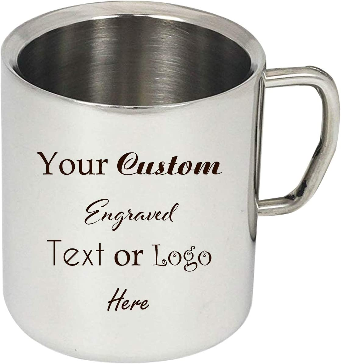 New Personalized Add Your Custom Text or Logo Double Walled Stainless Steel 15 Oz Durable Coffee Mug Customizable Gift (Single Side Engraving)