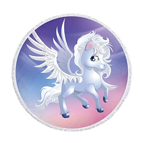 bff29b832b045 TapTheCamp Round Beach Towel Oversized Thick Blanket, Winged Unicorn Boy  Microfiber Fabric with Cotton Tassels
