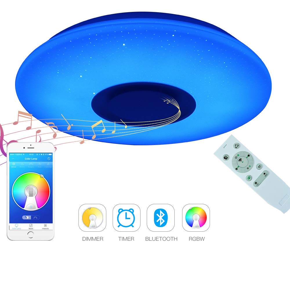 Acrylic LED Ceiling Light with Bluetooth Speaker Fixture Flush Mount Round 36W, Dimmable, Control via Smart Phone APP and Remote, Starlight Ceiling Light for Party Boy