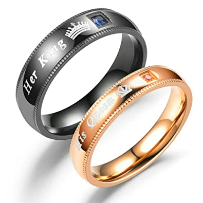 Fashionlife2018 Her King His Queen Couple Rings Wedding Band