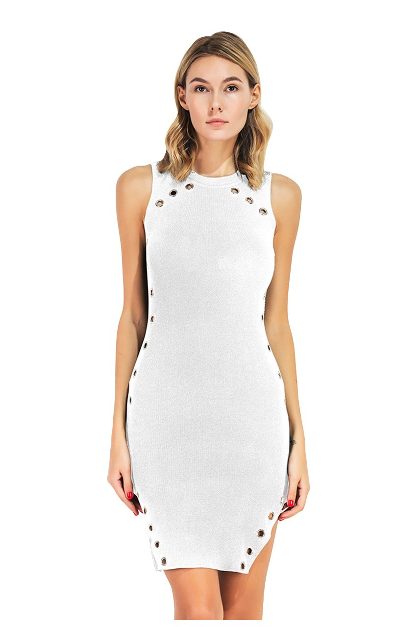 CHIC DIARY Ladies' Fashion Round Neck Sleeveless Hollow Out Split Bodycon Black Elegant Mini Dress (White)