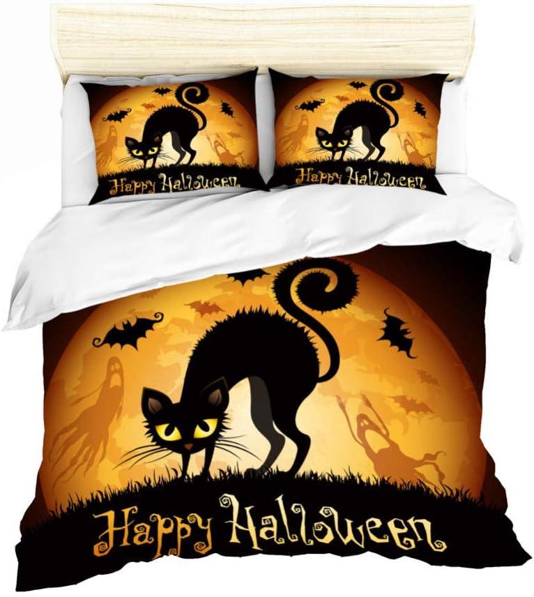 YCMFVG Funda Nordica Impresión 3D Poliéster Gato Negro De Halloween 3Pcs Funda Nórdica Y Fundas De Almohada Suave Y Confortable 220X230Cm