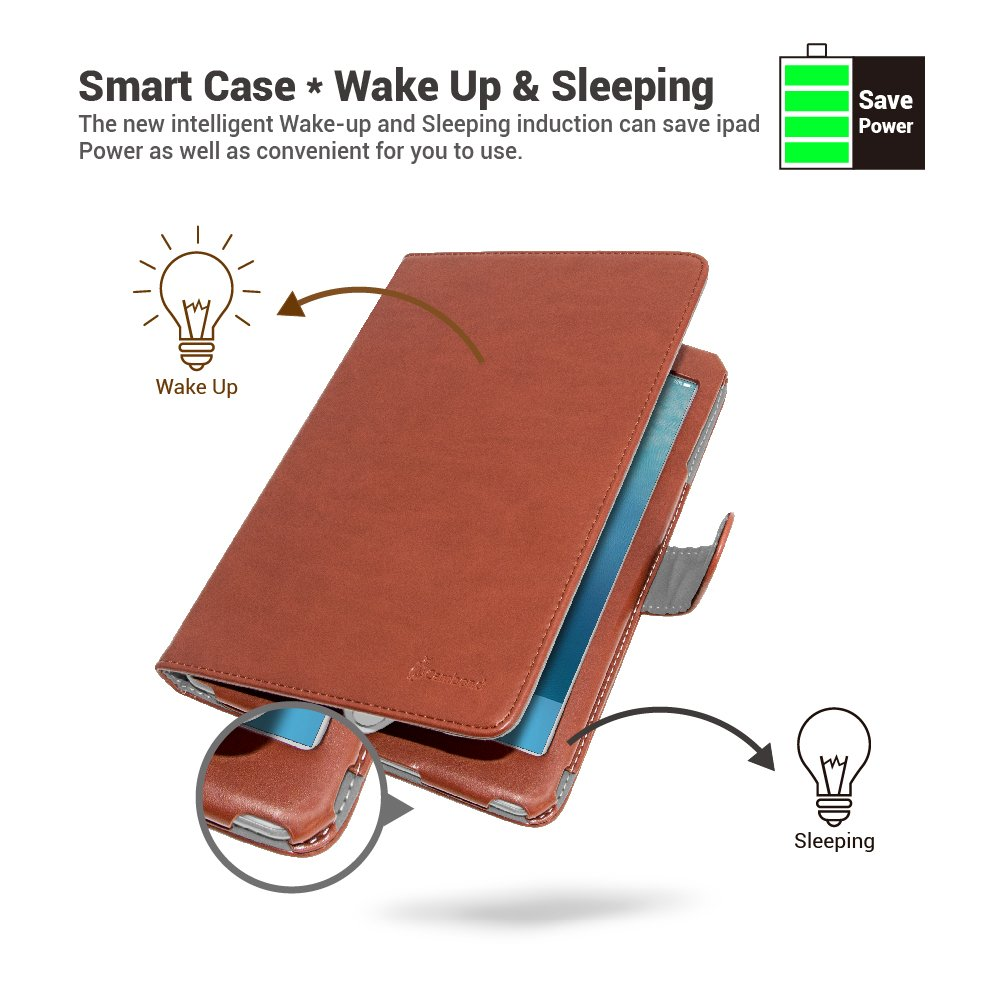 iPad Mini Case PU Leather Ultra Slim Sleep Awake Smart Stand Cover with Card Slots and Stylus Holder (Brown)