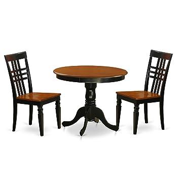 East West Furniture ANLG3-BCH-W - Juego de Mesa de Cocina (3 ...