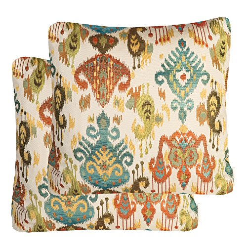 (Mika Home Pack of 2 Jacquard Damask Accent Throw Pillow Cases Cushion Covers for 20X20 Inserts Cream Teal Rust)