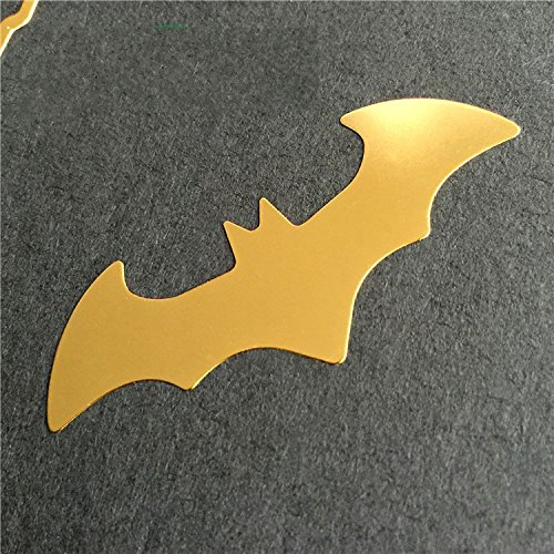 Wallner 2pcs in set Batman metal Decal sticker glitter For cell phone and laptop (Gold)