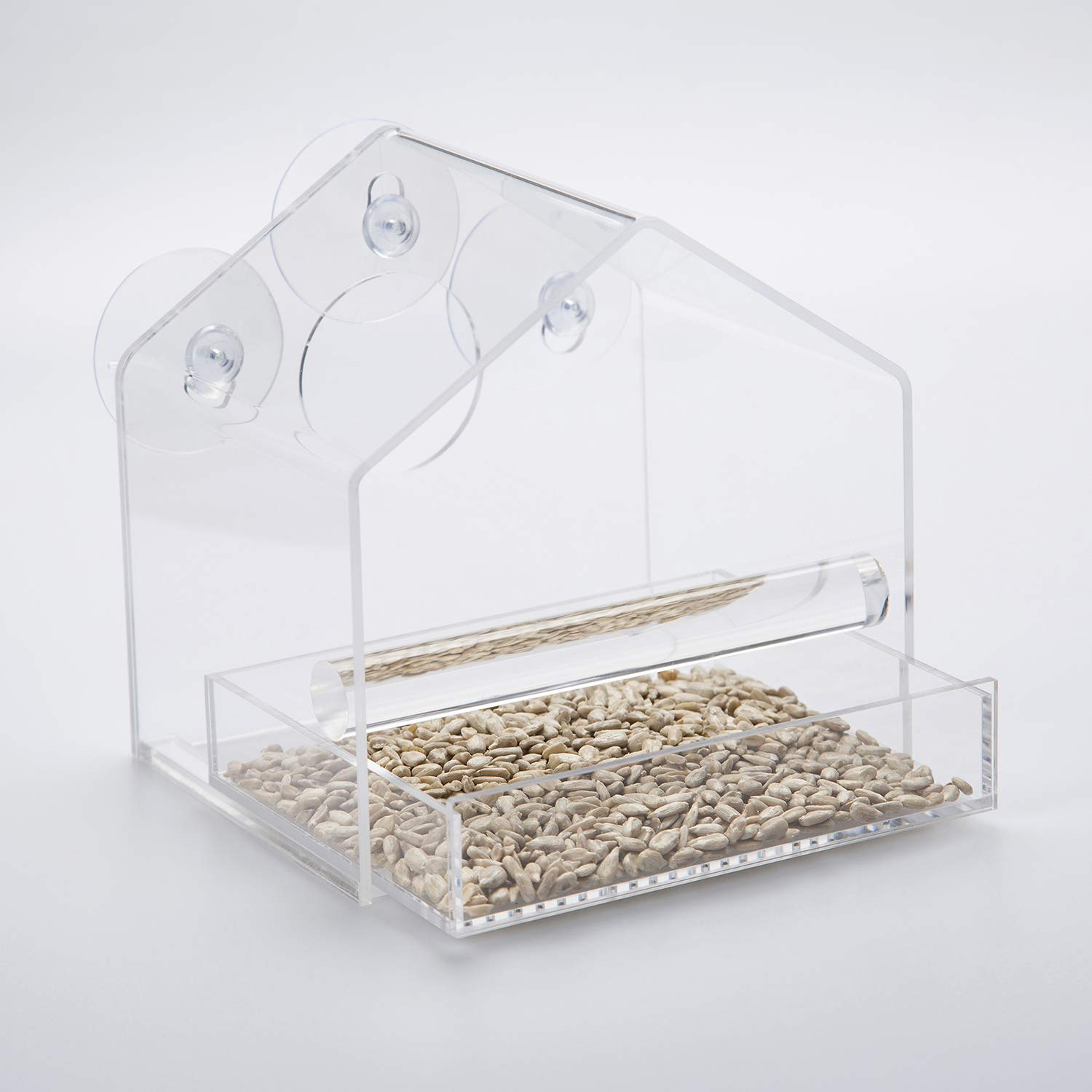 UPGRADED Window feeder in Glossy BOX, Great Gift, Keeps bird seed dry & Stays up in winter storms Chrysalis Products
