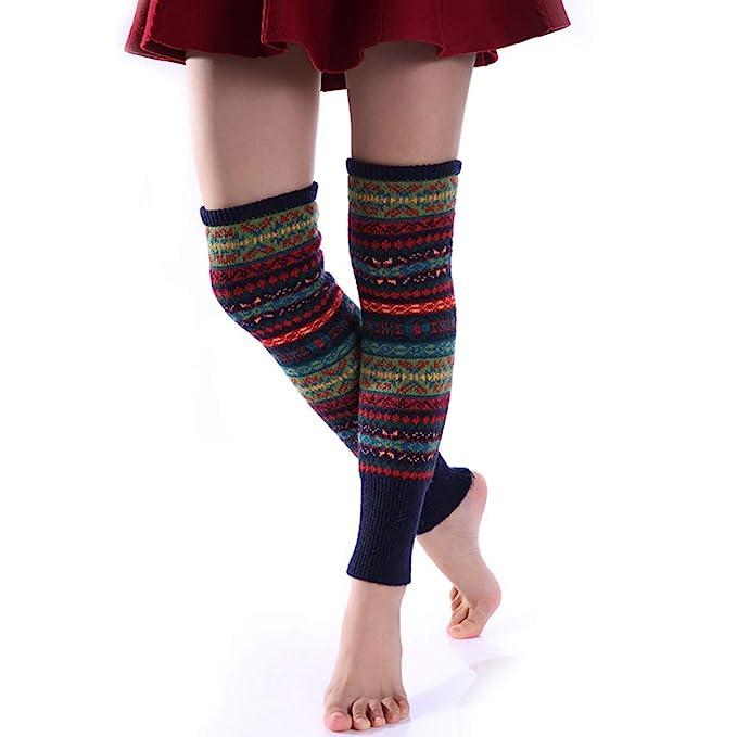 BESTOYARD Calentadores de piernas mujer raya hizo punto la media de la cubierta de la pierna Calcetines: Amazon.es: Ropa y accesorios