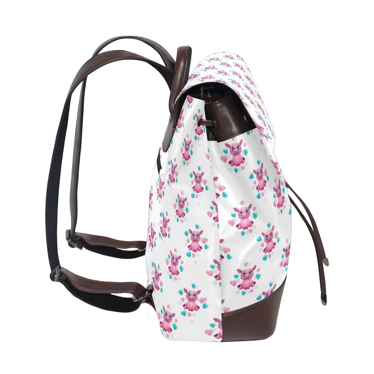 Leather Cute Cartoon Pink Pig Backpack Daypack Bag Women