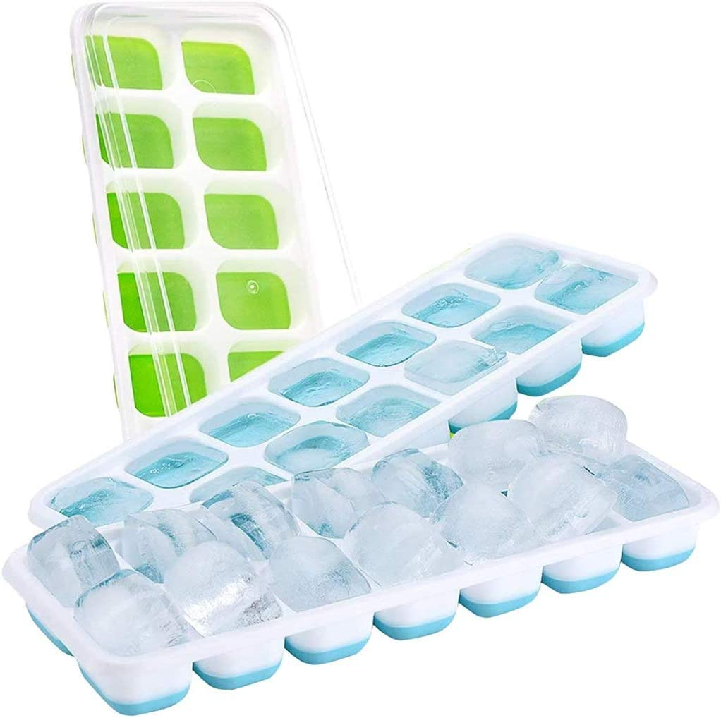 3 Pcs Ice Cube Trays - Flexible Silicone Ice Cube Tray with Lids -42 Cubes Reusable Ice Maker-Easy Release Stackable Ice Trays