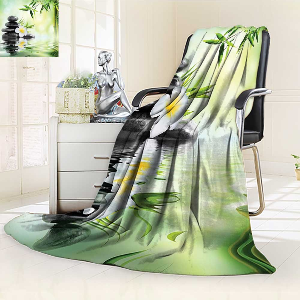YOYI-HOME Fleece Duplex Printed Blanket 300 GSM Anti-Static Super Soft Spa Decor Garden with Frangipani and Bamboo Japanese Relaxation Luxury Travel Bed Blanket Couch Blanket /W59 x H86.5