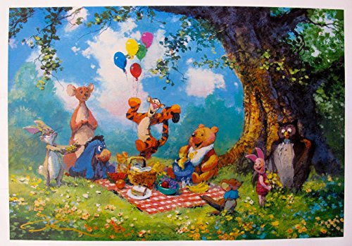 Wall Art by James Coleman Splendiferous Picnic Hand Signed Lithograph Print. After the Original Painting or Drawing. Winnie The Pooh Tigger Paper 12 Inches X -