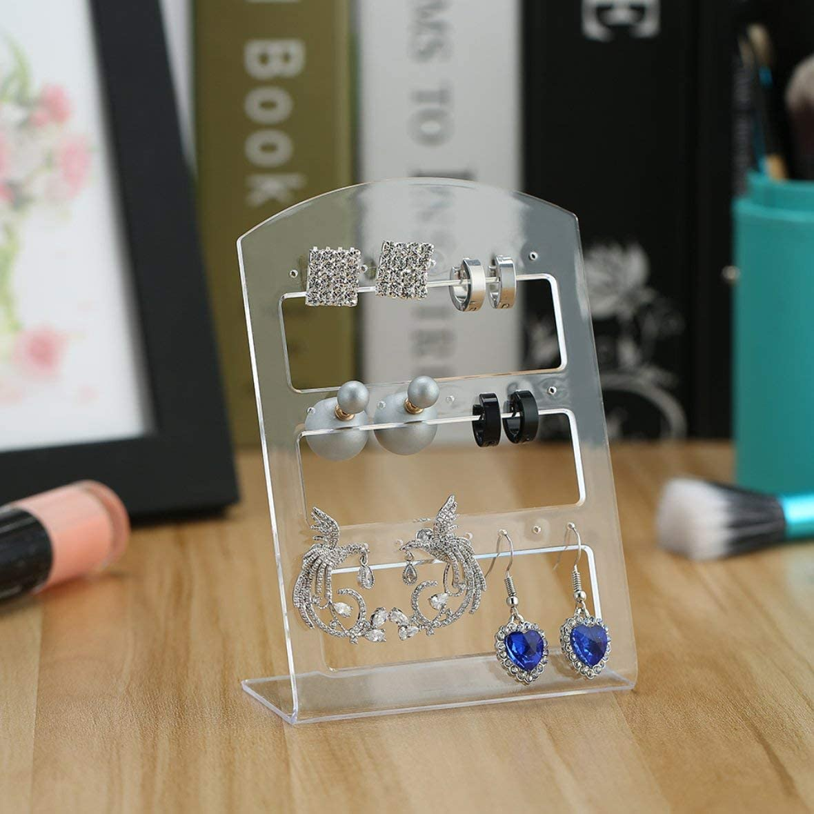 Romirofs 24 Hole Earring Jewelry Show Plastic Display Rack Stand Organizer Holder Transparent Displaying Earrings Ear Stud