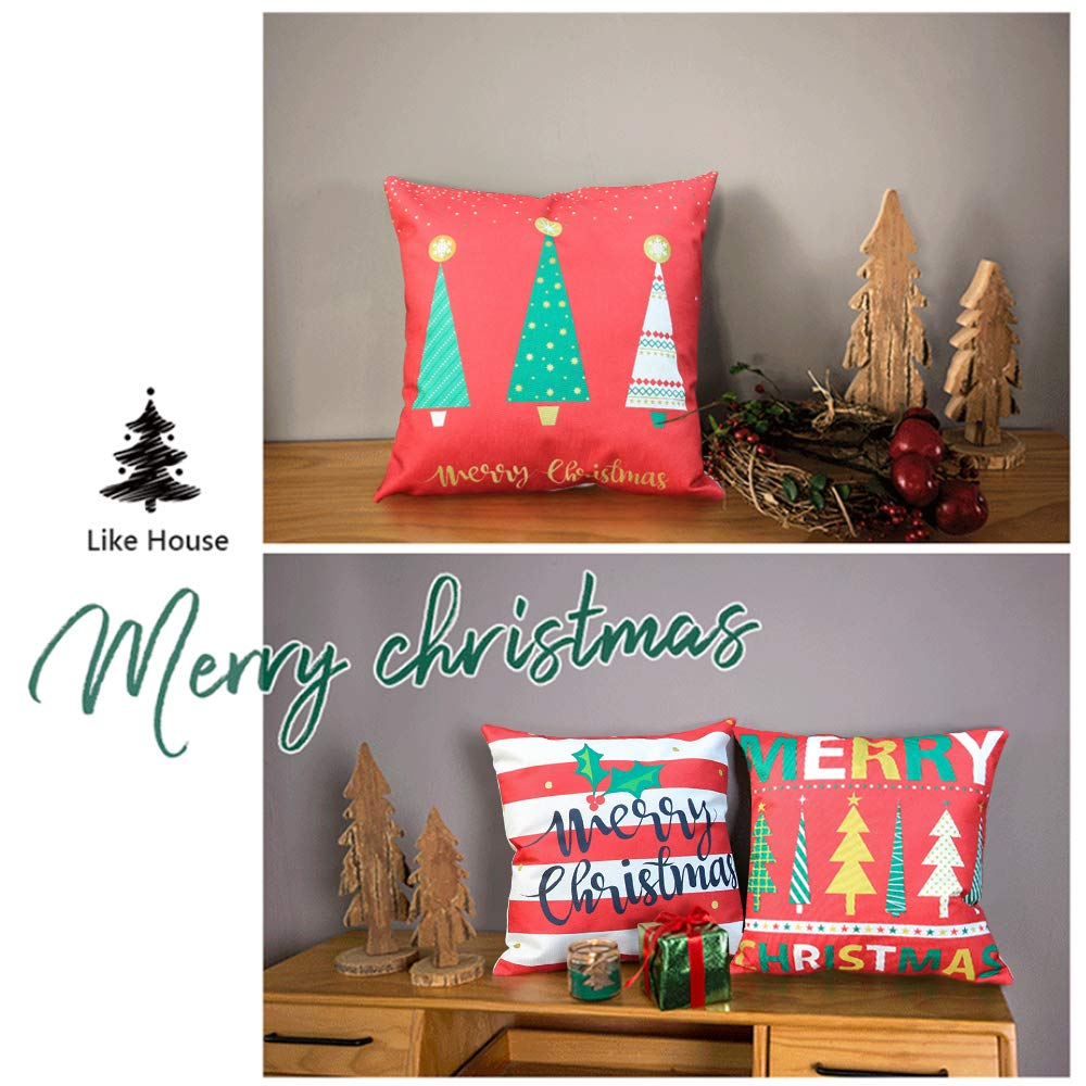 LoveHome Decor Merry Christmas Series Throw Pillow Covers,Winter Holiday Merry Christmas and Christmas Tree Farmhouse Decorations Cotton Linen Pillow Covers Set of 4,18 X 18 inch