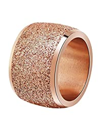 INRENG Women's Stainless Steel Ring Shiny Sequins Pave Sandblast Wide Wedding Band Silver, Rose Gold, Black